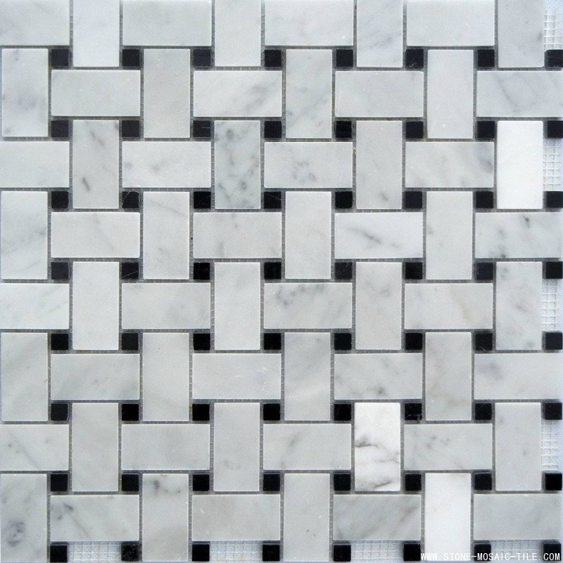 Basket Weave Marble Mosaic with mixed color white&black