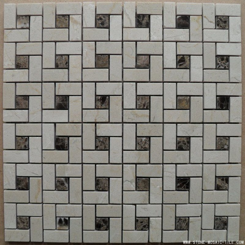 Crema Marfil Marble Mosaic with pin wheel design