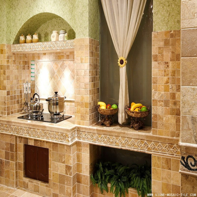 Travertine mosaic tile for wall cladding