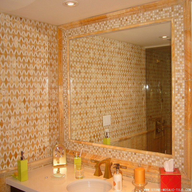 Golden onyx mosaic for wall decoration