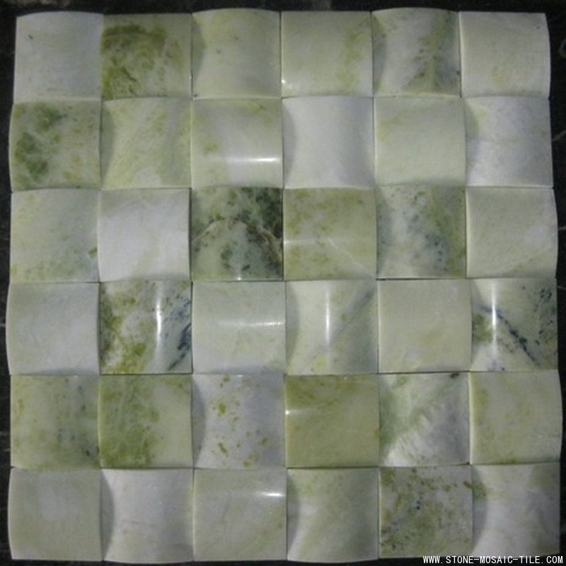 Green onyx mosaic with big concave design
