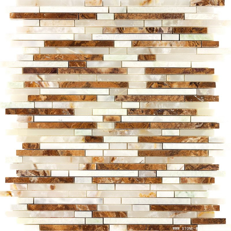 White onyx mosaic mixed with brown marble