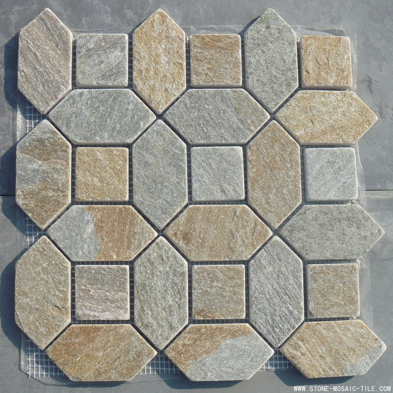 Mesh mount slate mosaic with square and hexagon chips