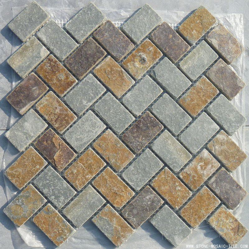 Multicolor slate mosaic for wall decoration