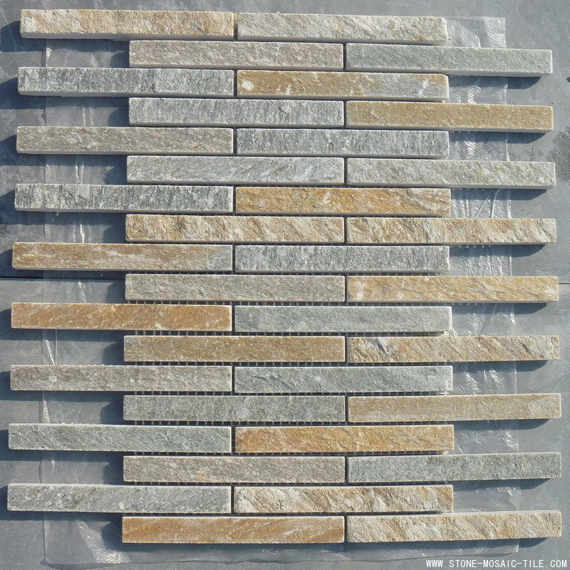 Interlocking slate mosaic tile