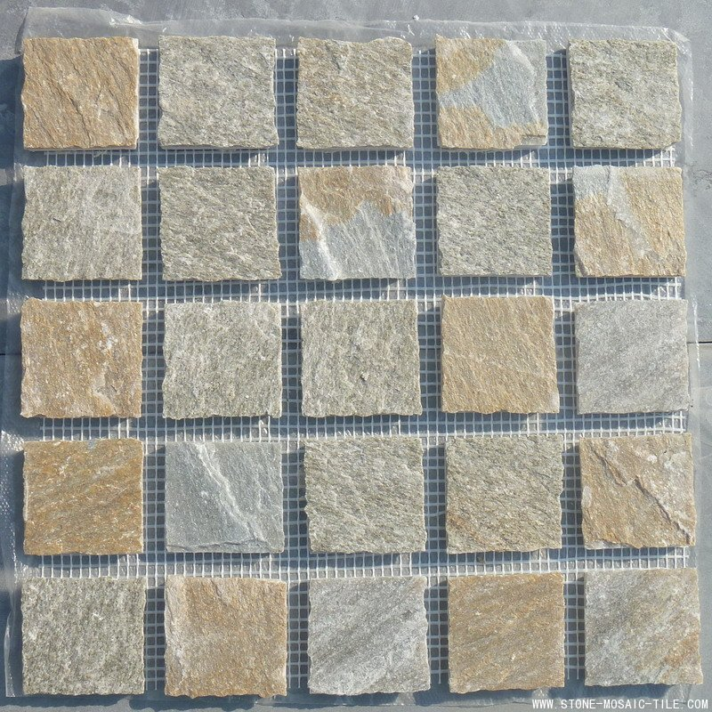 Natural slate mosaic with broken edges