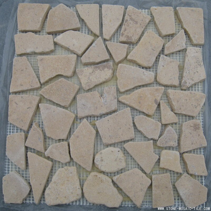Yellow limestone mosaic with flat surface