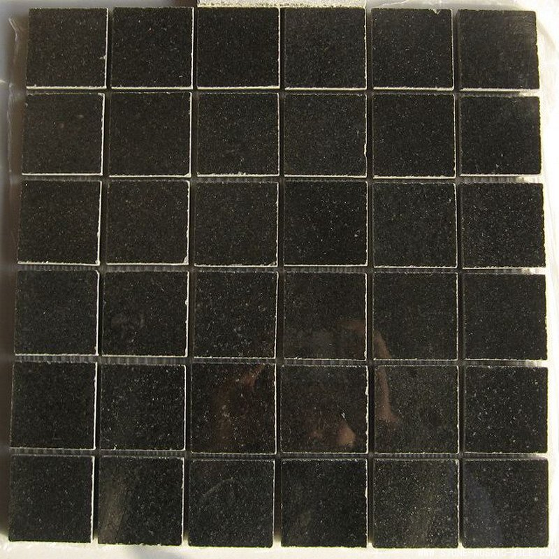 Polished black limestone mosaic