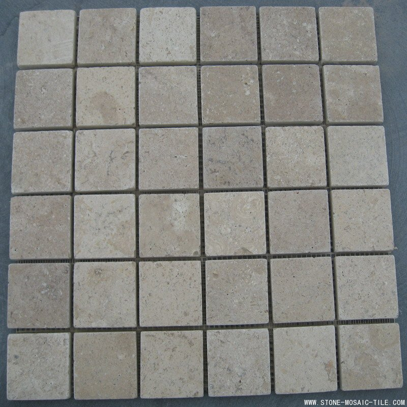 36 Chips of beige limestone mosaic tile