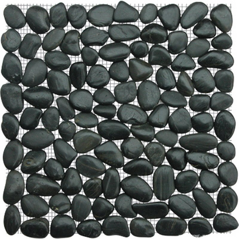 Black natural pebble mosaic tile