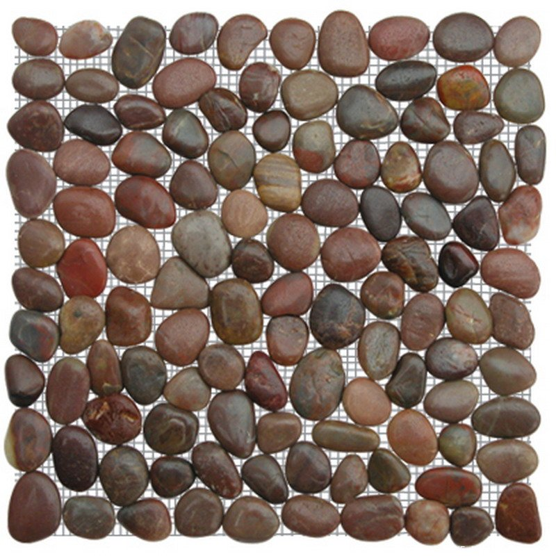 Red natural pebble mosaic tile
