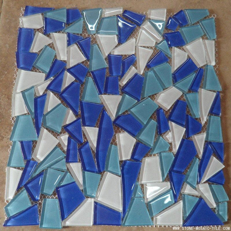 Blue color glass mosaic in crack shape