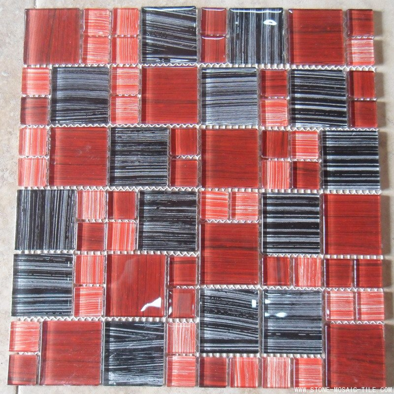 Red color glass mosaic tile