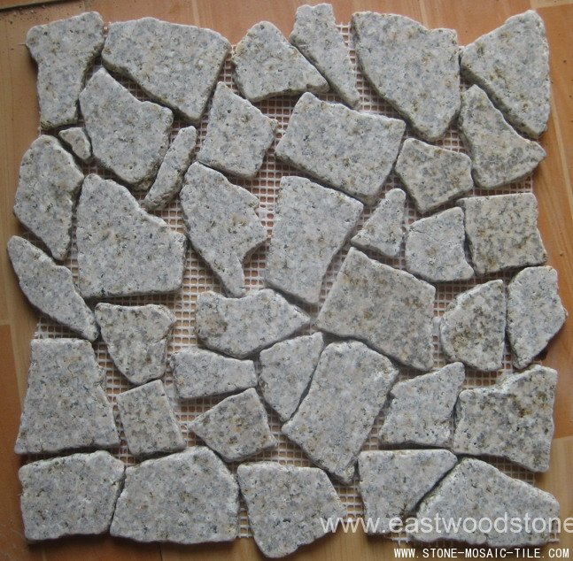 Tumbled yellow granite mosaic tile