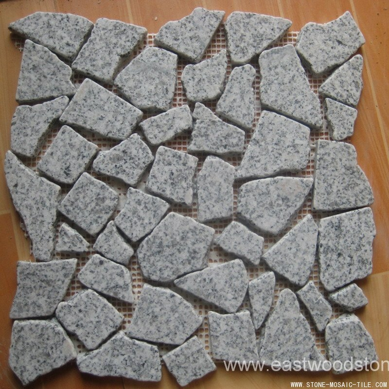 Crazy chips of grey granite mosaic