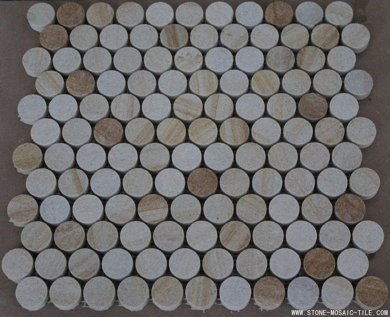 Round circle chips of sandstone mosaic tile