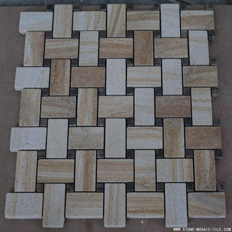 Yellow sandstone mosaic insert by black sandstone chips
