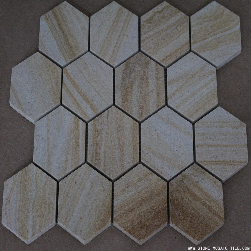 Hexagon beige sandstone mosaic tile