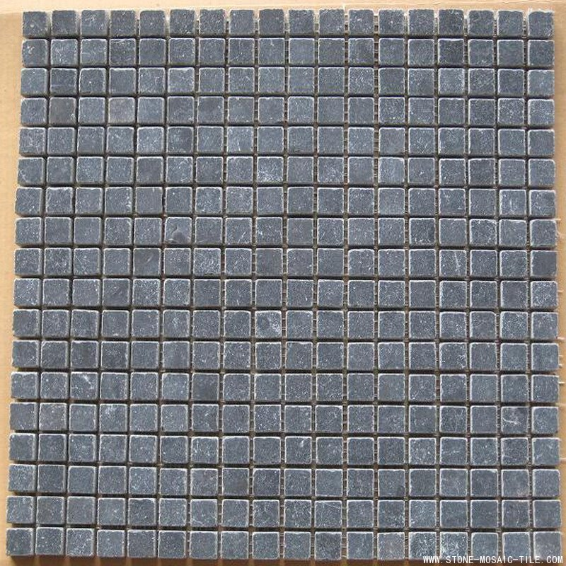 Honed&tumbled black granite mosaic tile