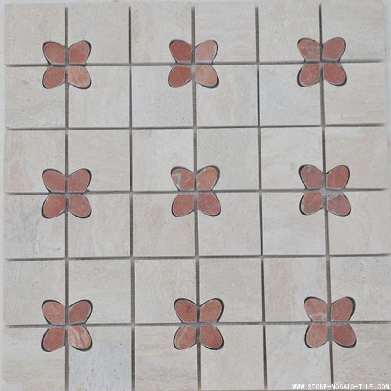 Butterfly design red marble mosaic