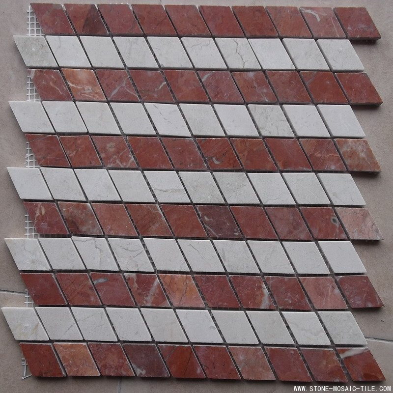 Beige white mixed red marble mosaic tile