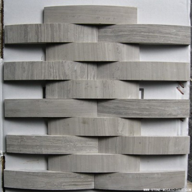 White wood grain marble mosaic in big wave design