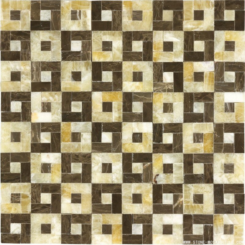 Yellow onix mixed brown marble mosaico tile