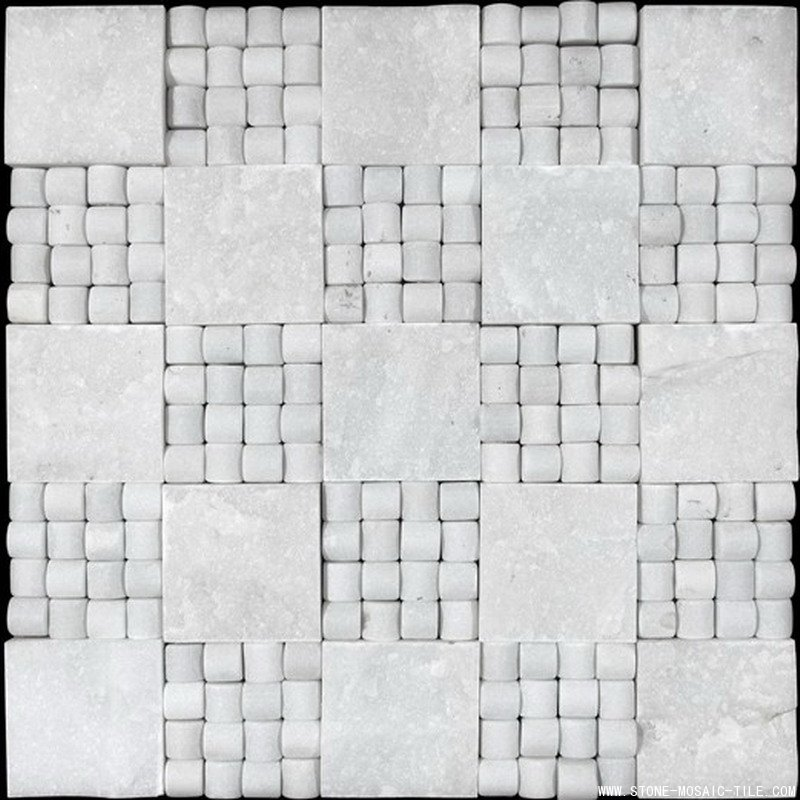 Section&small concave white marble mosaic