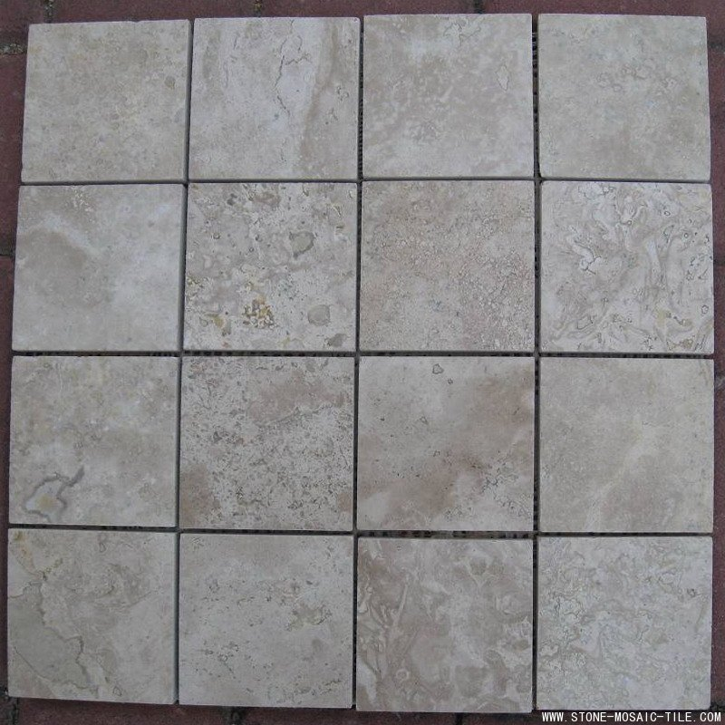 Beige travertine on mesh tiles