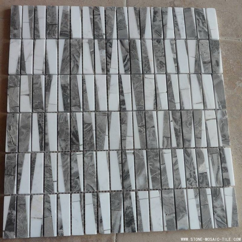 Slant mix brown and white marble mosaic
