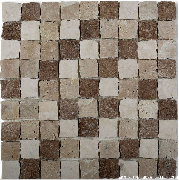 Brown grey white travertine mosaic with broken edges