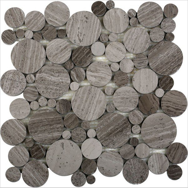Grey wooden marble round circle mosaic polished