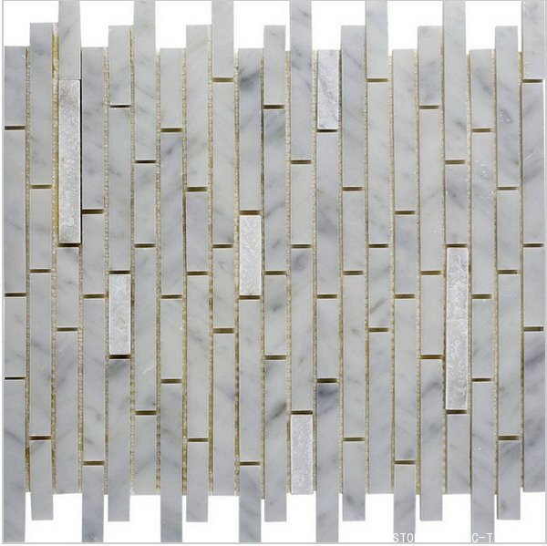 White marble mosaic in long strip design
