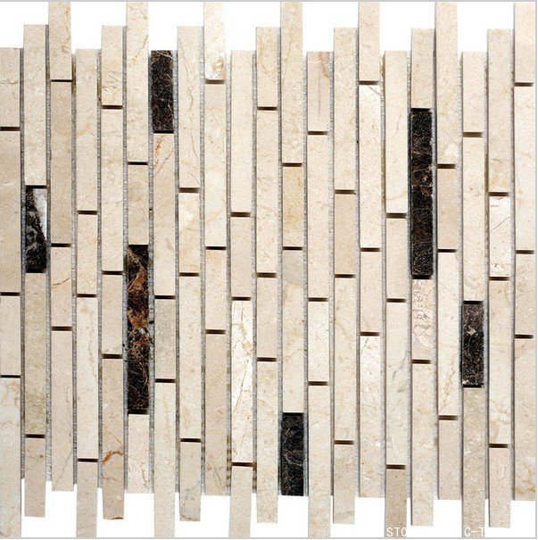 Beige marble mosaic polished tile on mesh