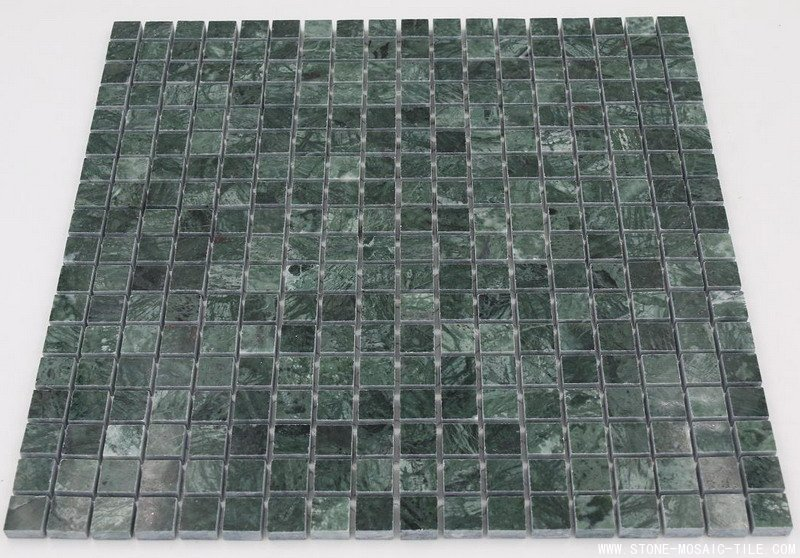 Verde green marble mosaic 15x15mm polished