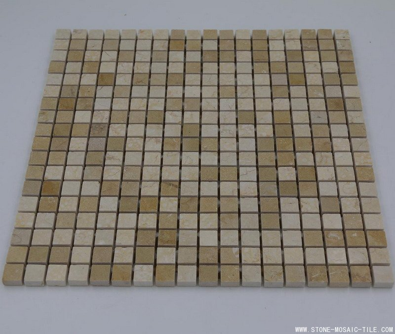 Sunny beige golden marble mosaic 15x15mm polished