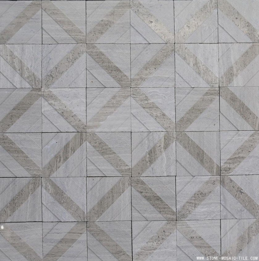 Light wood grain marble mosaic mix grey