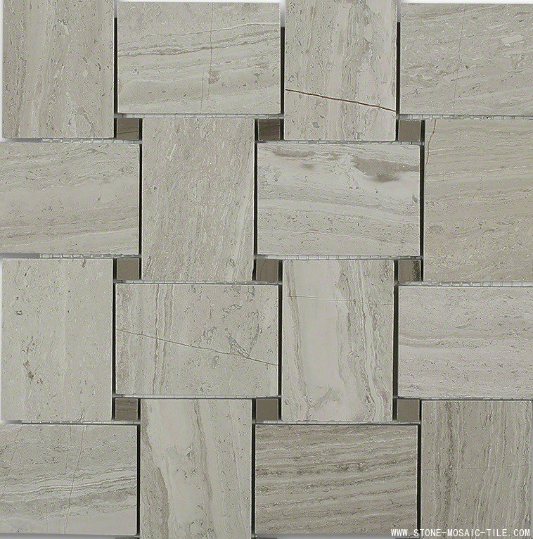 Wooden white marble mosaic with gray dot