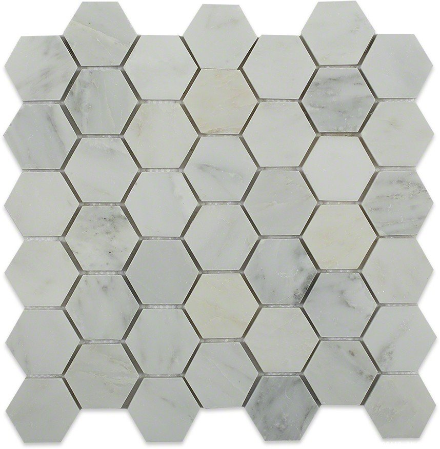 Asian statuary white hexagon tile
