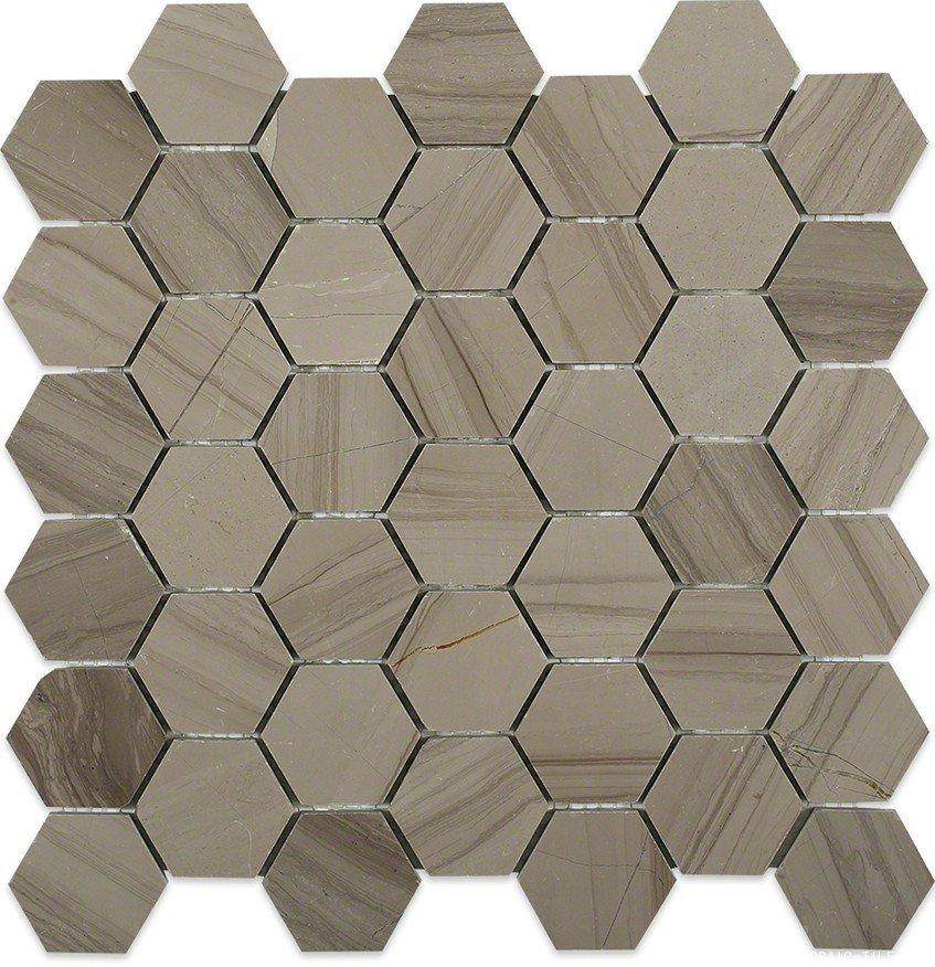 Athens grey marble hexagon mosaic tile
