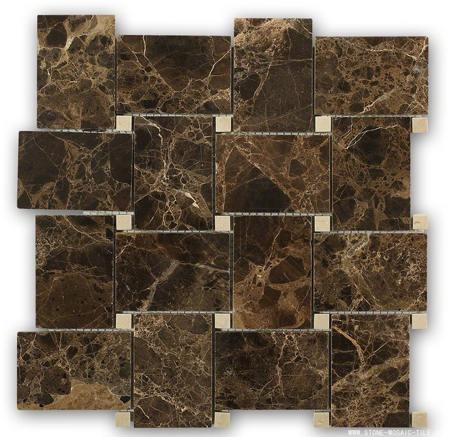 Emperador dark with crema mafil dot marble tile