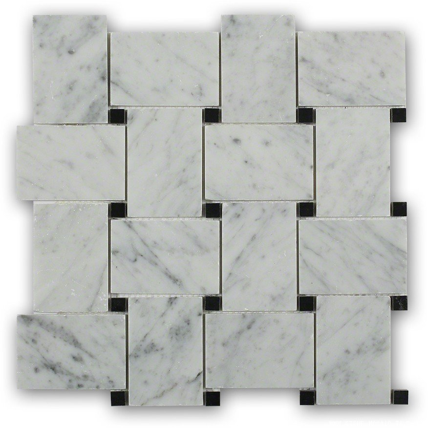 White carrera marble with black dot mosaic tile