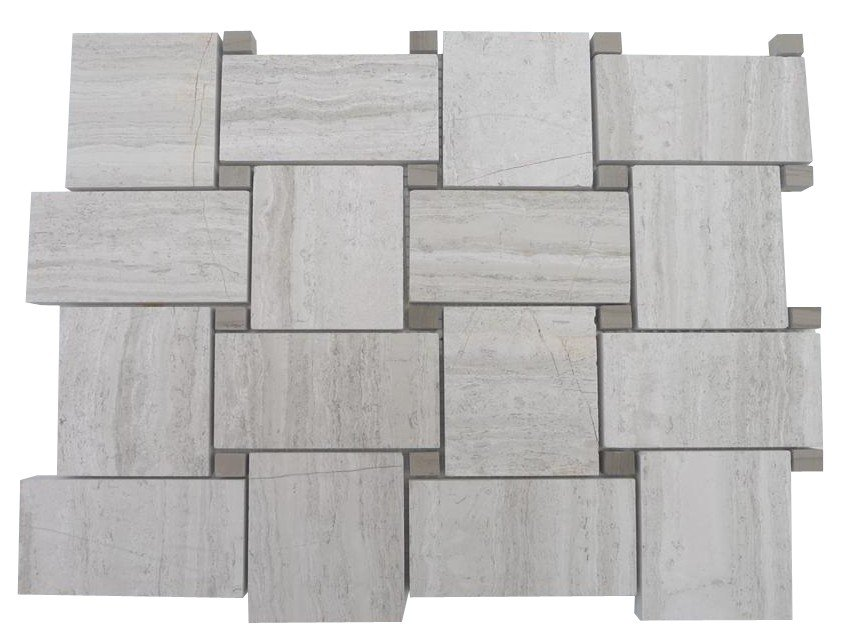 Beige wooden marble with gray dot mosaic tile